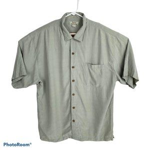 Tommy Bahamas 100% Silk Tan Button Up Shirt XL
